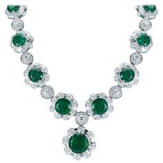 130.37 carats GIA Cert Zambian Emerald Necklace Earring and Ring Set | From a unique collection of vintage choker necklaces at https://www.1stdibs.com/jewelry/necklaces/choker-necklaces/