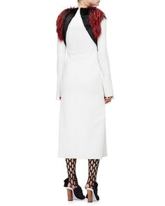 W07CW Proenza Schouler Fur-Trimmed Long-Sleeve Dress, Ivory