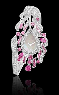 Chanel TImepiece ~ 18k white gold, pink sapphires and white diamonds.