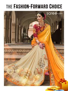 FASHION FORWARD CHOICE - Yellow and Beige Silk Saree with Embroidery Work