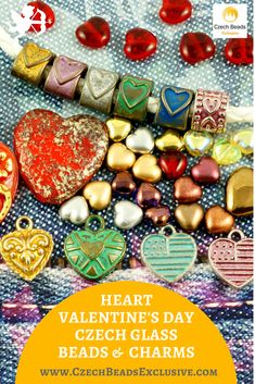 ?Heart Valentine`'s Day Czech Glass Beads and Charms  Different Colors & Sizes! - Buy now with discount!  Hurry up - sold out very fast! www.CzechBeadsExclusive.com/+heart SAVE them! #czechbeadsexclusive #czechbeads