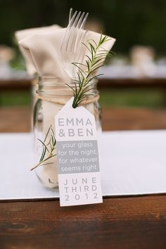 """Reception/wedding favor. Circle tag w/ """"thank you"""" stamped on it. Twine and button for finishing touch."""