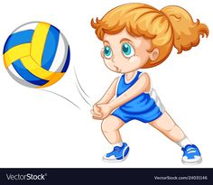 A Caucasian girl playing volleyball Royalty Free Vector Bullet Journal For Kids, Volleyball Drawing, Physical Education Lessons, Caucasian Girl, Sports Clips, School Clipart, Chibi Girl, Ceramic Animals, Kids Learning
