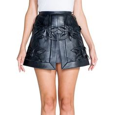 Pre-owned Fendi Orchid Leather Mini Skirt ($1,975) ❤ liked on Polyvore featuring skirts, mini skirts, black, leather skirts, long leather skirt, real leather skirt, short leather skirt and mini skirt