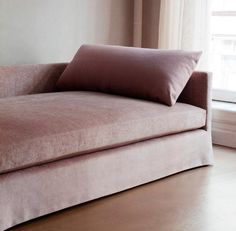 Love is this dreamy Dmitriy & Co. Custom Chelsea Square Sofa upholsted in pink velvet.