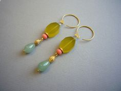 Traumschöne Ohrhänger 24k Gold & Jade/Koralle von felicitas mayer ~ schmuck & accessoires auf DaWanda.com