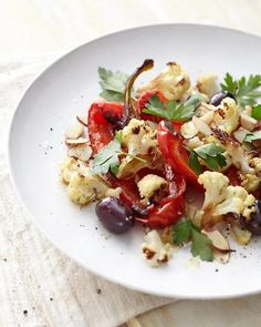 Roasted Peppers, Cauliflower, and Almonds, Wholeliving.com #detox #dinner
