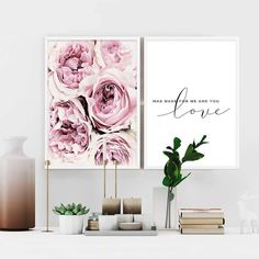 Scandinavian Style Pink Flower Painting Wall Art Canvas Posters Nordic Prints Decorative Picture Modern Home Bedroom Decoration - Ideas Flowers Scandinavian Style, Scandinavian Bedroom Decor, Nordic Style, Canvas Poster, Canvas Wall Art, Quote Canvas, Art Mural Floral, Images Murales, Wal Art