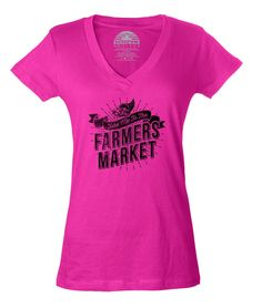 Women's Take me to the Farmers Market Vneck T-Shirt - Juniors Fit - Cool Hipster Foodie