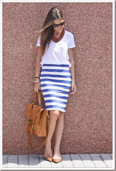 stripe skirt and tan leather bag + shoes with plain white T