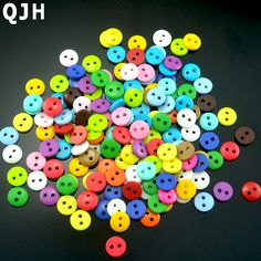 Großhandel 200 stücke multi 9mm runde harz mini winzigen tasten handwerk nähzubehör verzierungen taste scrapbooking diy tools