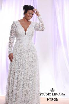 Prada | Studio Levana | Plus Size Wedding Dress | Long Sleeve Lace Wedding Dress | Plus Size Bride | All My Heart Bridal