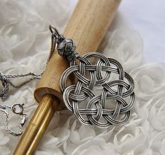 Fine Silver Celtic Knot Pendant With Sterling Silver Italian