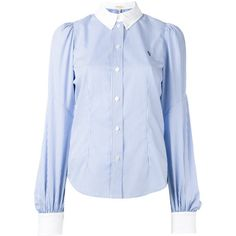 Marc Jacobs bishop sleeve button down shirt (£285) ❤ liked on Polyvore featuring tops, blue, blue striped top, embroidered shirts, cotton shirts, button up shirts and striped top