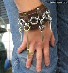 steampunk fusion leather cuff with keys by acaseofrandom on Etsy, $25.00