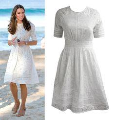 Cream broderie anglaise dress inspired by Duchess Kate Middleton on Etsy, € Looks Kate Middleton, Estilo Kate Middleton, Fashion Models, Girl Fashion, Fashion Outfits, Fashion Design, Duchesse Kate, Lace Dress, White Dress