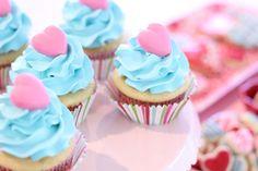 Pink & Blue Valentine's Cupcakes