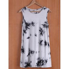 Casual Oil Print Sleevless Round Neck Women's Dress — 15.32 € ---Size: XL Color: WHITE