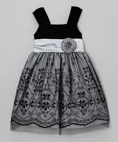 Take a look at this Black & Silver Flocked Flower Dress - Toddler & Girls by Gerson & Gerson on #zulily today!