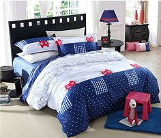 MeMoreCool Home Textile Boys and Girls Blue Polka Dot Bedding Set Cute Playful Cat Pattern Duvet Cover Kids Students 100 Cotton Bedding Fillet Bed Sheets Full Size 4Pcs * More info could be found at the image url.