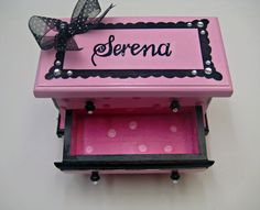 A hand painted jewelry box in light pink hot by thepresentplace, $58.00