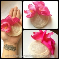 Retro Style Mini Hat Pink orchid Fascinator by BellaBooSmile