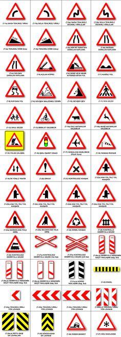 . ehliyet: Trafik Tanzim İşaretleri Road Safety Signs, Kids Corner, Printable Paper, Worksheets, Coloring Books, Transportation, Knowledge, Clip Art, Classroom