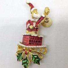 Signed GOLD CROWN Vintage SANTA CHIMNEY BROOCH PIN Trembler Enamel Gold Tone #GoldCrown #Vintage