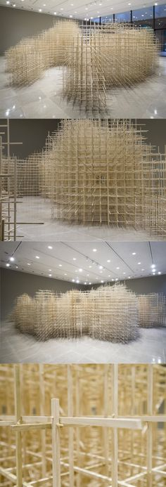A Monumental Scaffolding of Poplar Wood at Rice Gallery by Ben Butler…