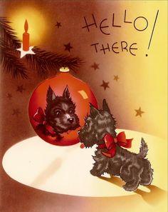 Vintage Christmas Card ~ Scottie admires himself at Christmas.