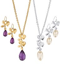 "Fancy Floral Necklace and Earring Gift Set - Necklace, 16 1/2"" L with 3 1/2"" extender. Pierced earrings, 1 1/2"" L. Regularly $19.99, buy Avon jewelry online at http://eseagren.avonrepresentative.com"