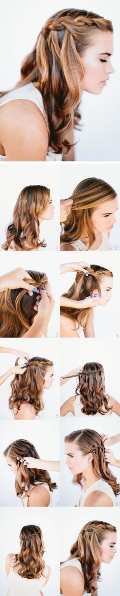 Best 5 Minute Hairstyles - How to do a Waterfall Braid Hairstyle Step By Step Quick And Easy Tutorials For The Best Five Minute Hairstyles That You Can Rock In No Time. Wedding Hairstyles For Long Hair, Trendy Hairstyles, Hair Wedding, Wedding Braids, Braid Hairstyles, Wedding Ponytail, Short Haircuts, Step Hairstyle, Hairstyles Pictures