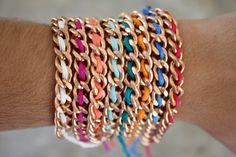 Silk Braided Rose Gold Chain Friendship Bracelets by shopkei, $15.00