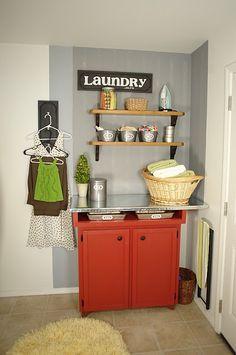 I WANT this laundry room folding station!! #laundry #organization