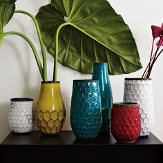 West Elm Interesting shapes and a shot of colour from these Hive Vases
