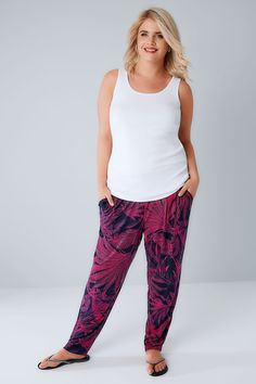 Navy & Pink Tropical Palm Print Jersey Harem Trousers With Pockets