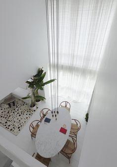 White living area, Dining, Safari style, Scandinavian, Nordic,  Penthouse
