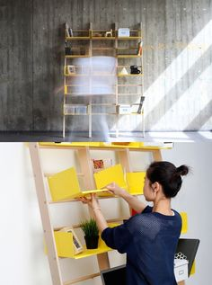 Simple called 'Library,' this minimal modular shelf system was designed to maximize wall storage specifically for small spaces. The design is based on a very simple Bookshelf Storage, Modular Shelving, Modular Storage, Bookshelf Design, Wall Storage, Bookshelves, Small Library Furniture, Small Apartment Furniture, Furniture For Small Spaces