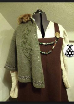 Viking dress and cloak with embroidery. Amazing work