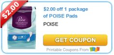 $2.00 off 1 package of POISE Pads #coupon