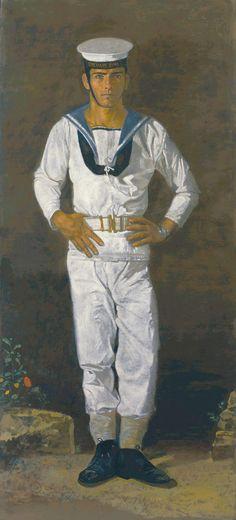 """Sailor in the sun Paris"", by Yannis Tsarouchis. Oil on cloth, x 104 cm Paul Cadmus, Alberto Giacometti, Greek Art, Art Database, Drawing Practice, Male Figure, Gay Art, Henri Matisse, Illustrations"