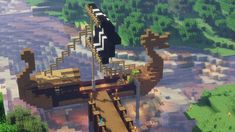 Viking merchant ship with shaders - Minecraft