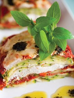 """No-bake vegan """"lasagna"""" using thinly sliced zucchini, sun dried tomatoes, soaked cashews, and other awesome ingredients! From Make It Raw."""