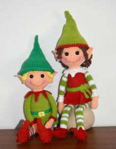 Christmas elves - crochet, found on : http://amigurumibb.com/2014/11/30/christmas-elves-pattern/