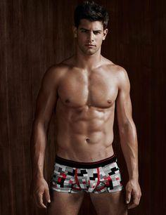 Franky Cammarata models underwear for Canadian retailer Simons