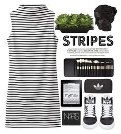 """""""Stripes ..."""" by mymilla ❤ liked on Polyvore featuring Ren-Wil, Lux-Art Silks, Whiteley, adidas, Elite, NARS Cosmetics and adidas Originals"""