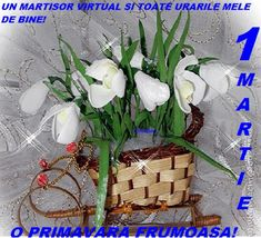 citate si mesaje/iuliapad.: 1 Martie 8 Martie, French Flowers, Grapevine Wreath, Grape Vines, Origami, Glass Vase, Wreaths, Decor, Mariana