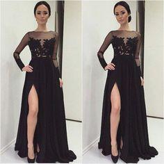 Winter Formal 2015 Elegant Long Sleeve Evening Dresses Applique Lace Split Sexy Wedding Guest Party Gowns robe de soiree longue
