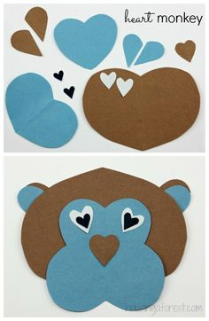 Heart monkey - Lots of Heart Shaped Animal ideas ~ simple Valentines Day craft