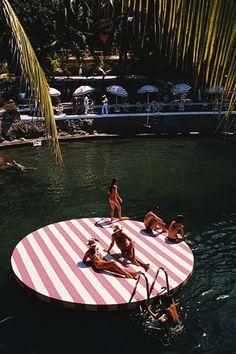 La Concha Beach Club, 1975 Bathers at La Concha Beach Club, Acapulco, Mexico, February 1975.